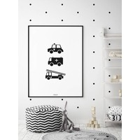 thumb-Poster babykamer politie ziekenauto brandweerwagen zwart wit-6