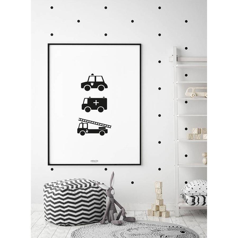 Poster babykamer politie ziekenauto brandweerwagen zwart wit-6