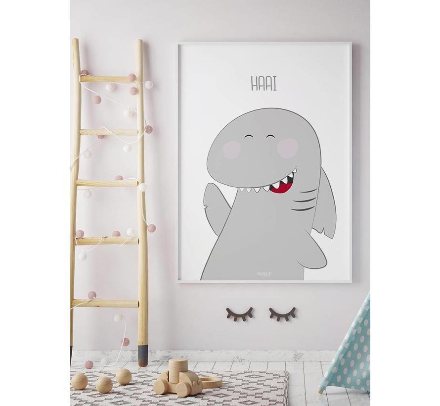 Poster kinderkamer haai met tekst