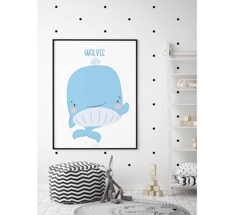 Poster kinderkamer walvis met tekst