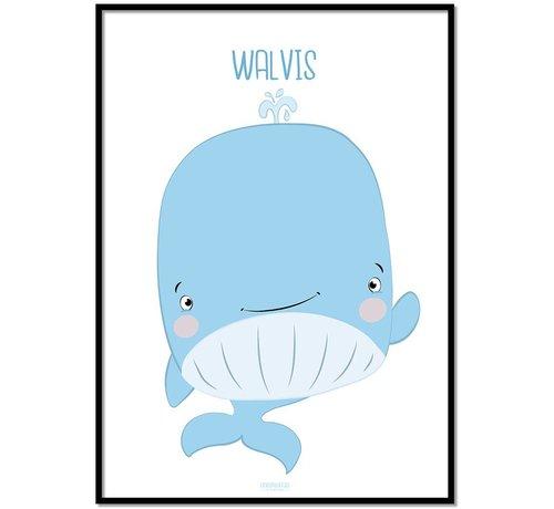 Lievespulletjes Poster kinderkamer walvis met tekst