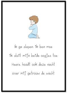 Lievespulletjes Poster christelijk kindergebed ik ga slapen ik ben moe (jongen)