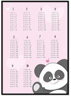 Lievespulletjes Tafelsommen poster panda roze