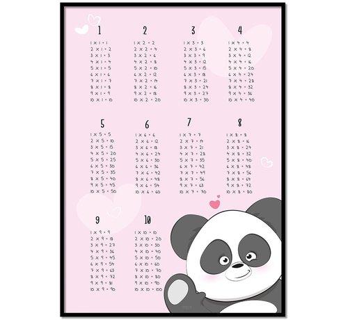 Lievespulletjes Rekenen tafel poster kinderkamer met een lieve panda roze