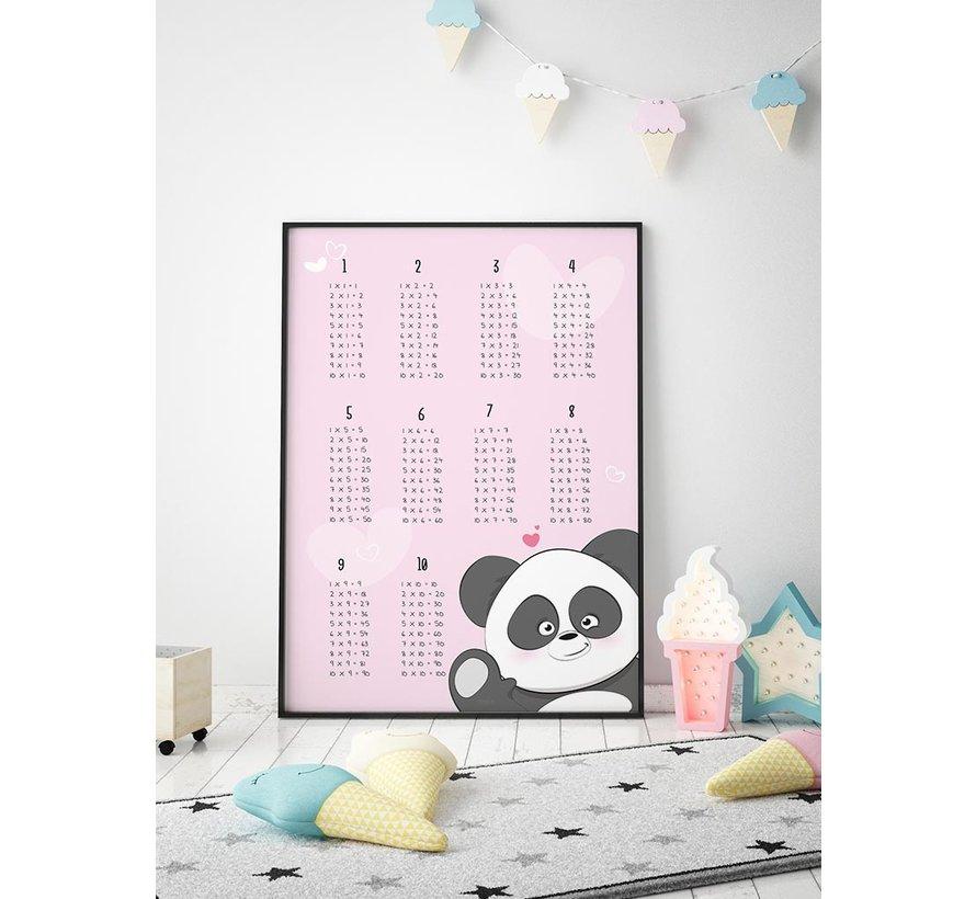 Rekenen tafel poster kinderkamer met een lieve panda roze