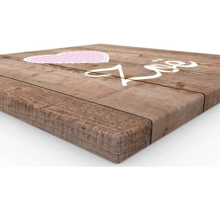 Muurdecoratie hout look - Boerenbont