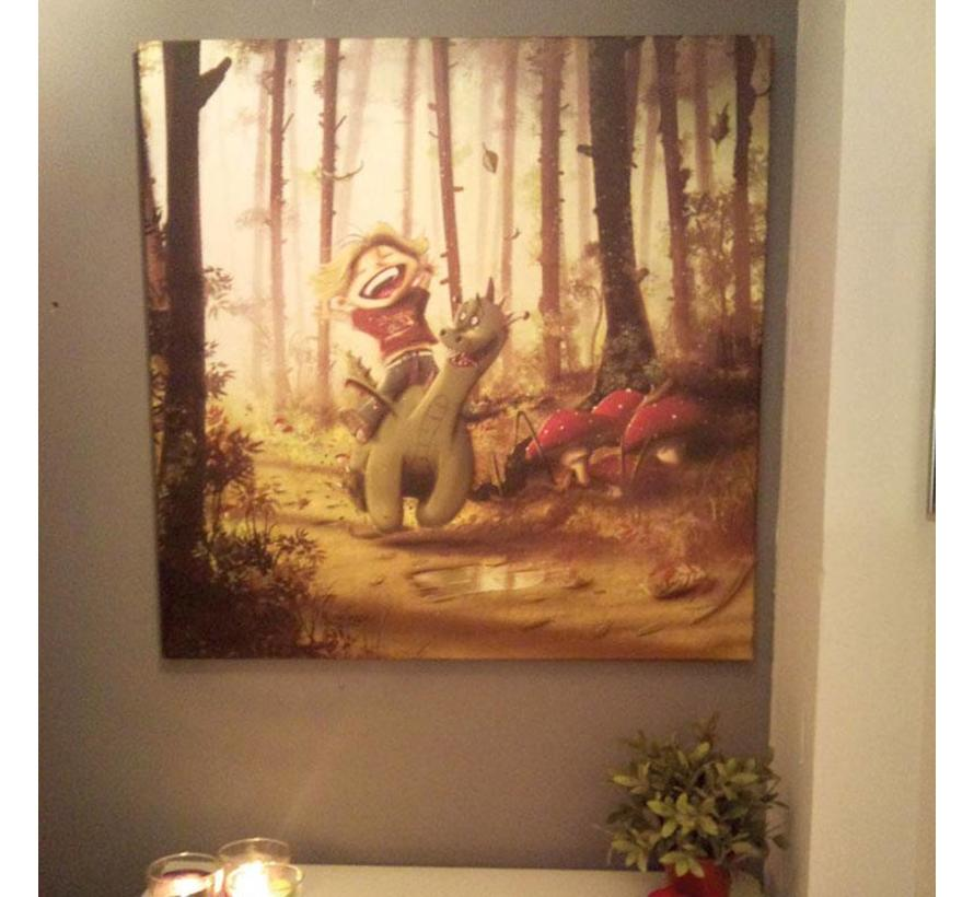 Muurdecoratie: Draakje en zijn vriendje (uniek)