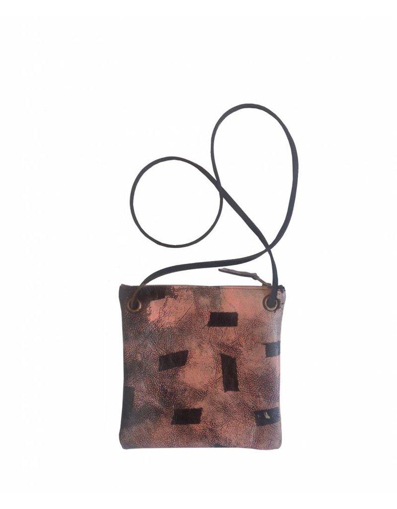 Tesj Handtasje zwart-zalm print