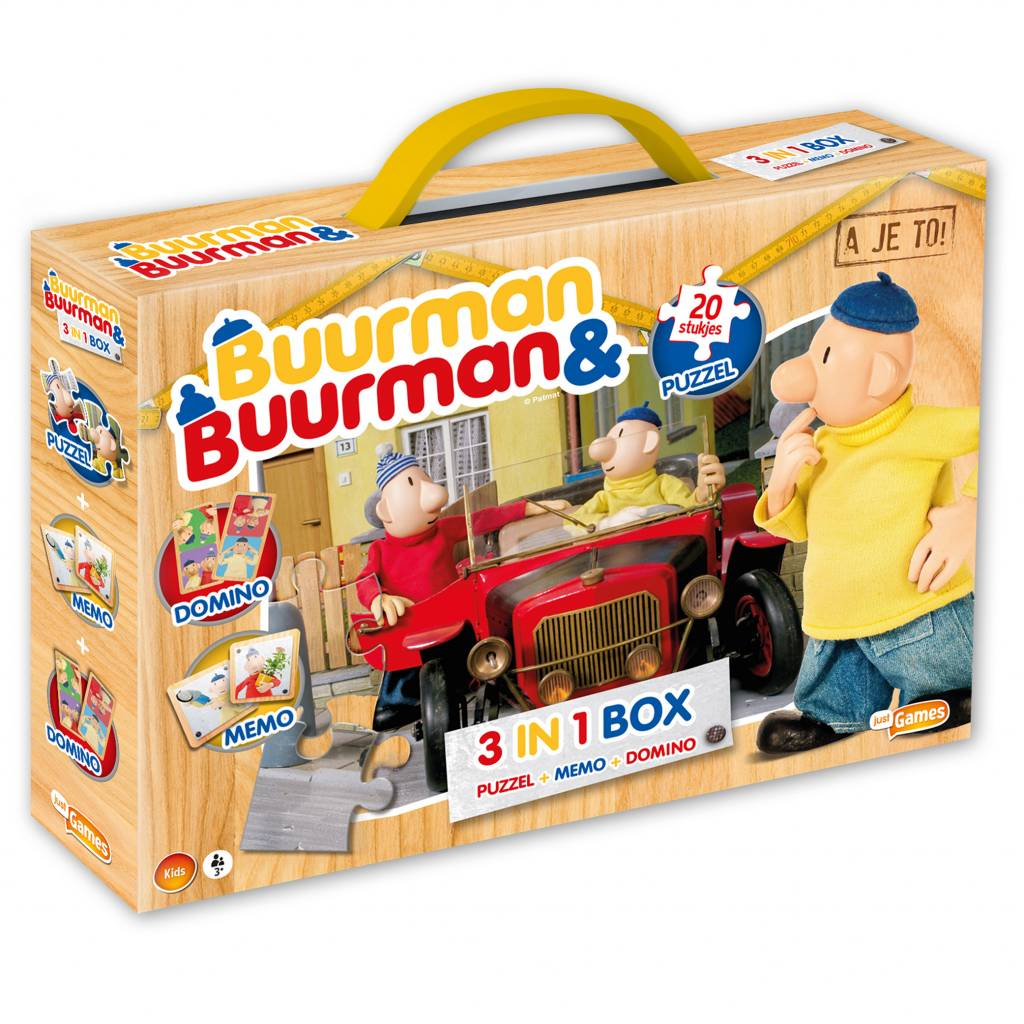 Buurman & Buurman 3 in 1 box - Puzzel - Memo - Domino
