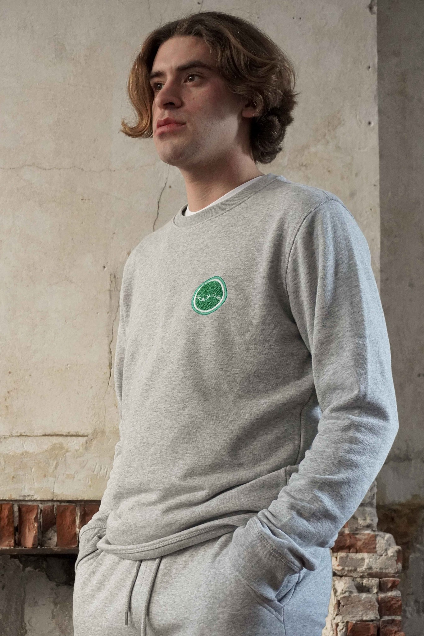 Manus Lounge Crew Heather Grey/Fairway Green