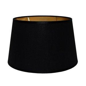 RamLux Lampenschirm 25 cm Konisch POLYCOTTON Schwarz | Gold