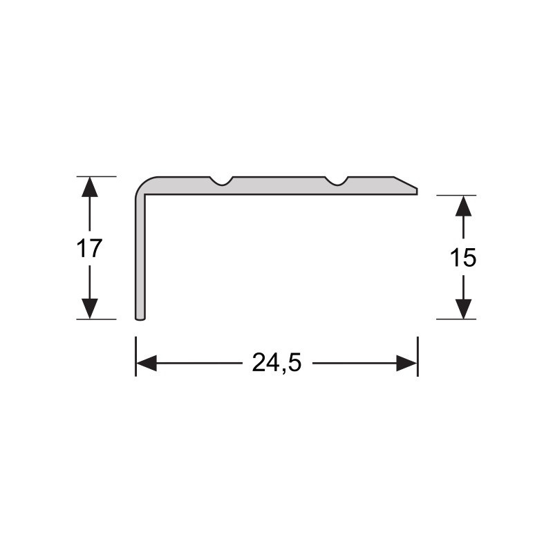 Hoeklijnprofiel  zelfkl. 17 mm zilver 1 MTR