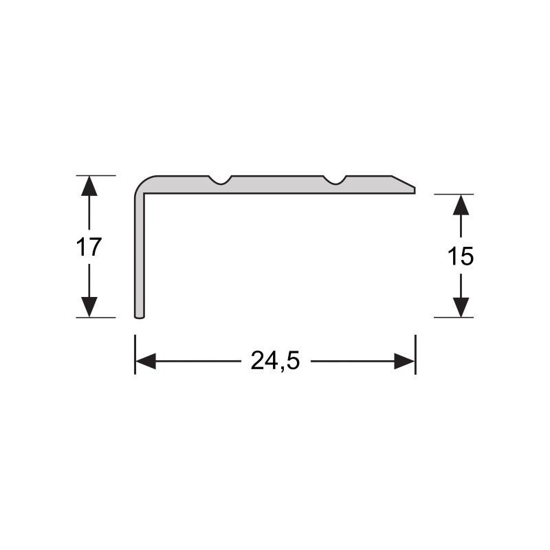 Hoeklijnprofiel  zelfkl. 17 mm zilver 2,7 MTR
