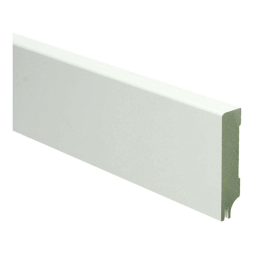 MDF Moderne plint 70x15 wit gel. + uitsparing