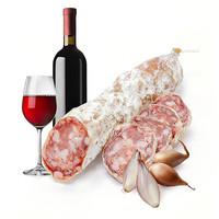 Franse gedroogde worst met rode wijn & sjalot