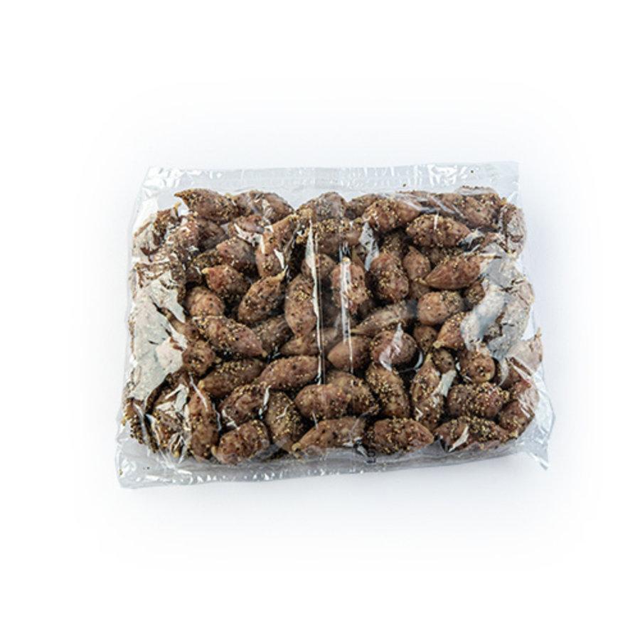 Gedroogde mini worstjes omhuld met Peper