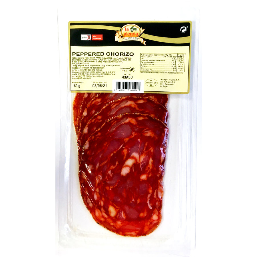 Gesneden peppered Chorizo