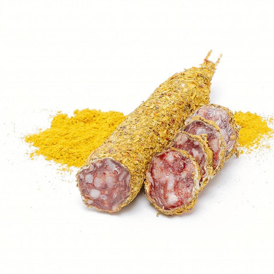 Franse gedroogde worst met gele kerrie kruiden