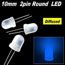 Round Led White Diffused Blue 10mm