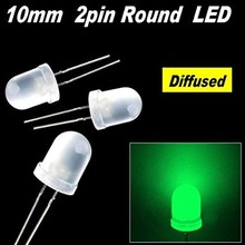 Round Led White Diffused Green 10mm