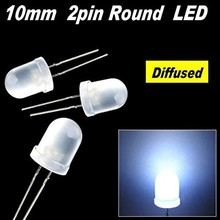 10mm Round Led White Diffused Cold White