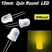 Round Led White Diffused Yellow 10mm