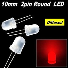 Round Led White Diffused Red 10mm