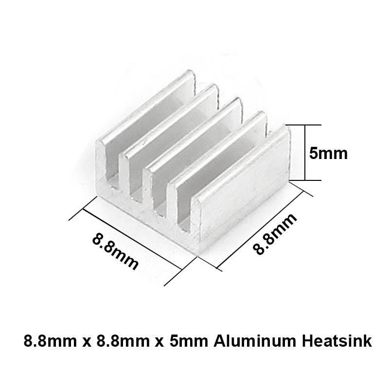 Aluminium koellichaam (heatsink) 8,8 x 8,8 x 5mm