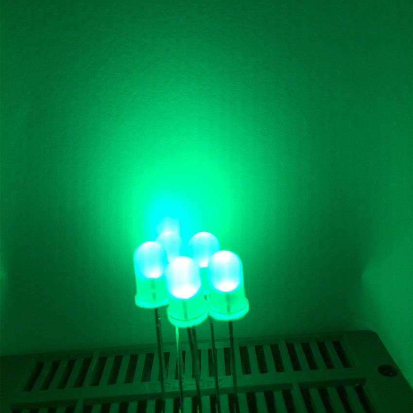 5mm Round Led White Diffused Green