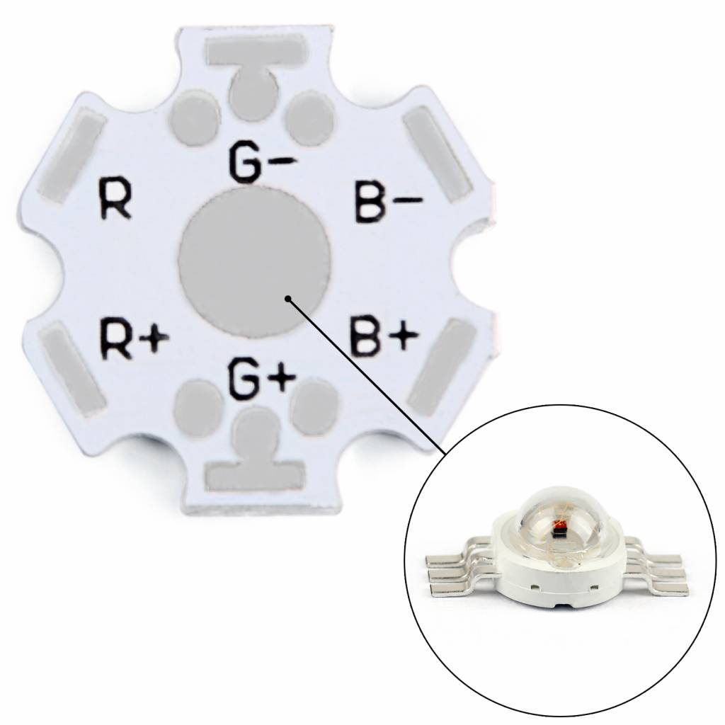 Aluminum heat sink / base plate for the high power leds RGB 6 pins