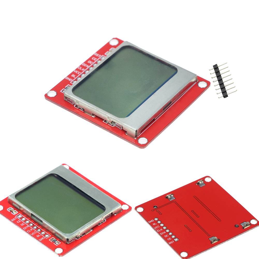 5110 LCD Screen voor arduino met een witte achtergrond
