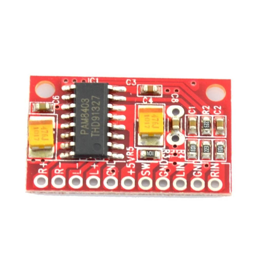 Mini Amplifier 2 x 3 Watt PAM8403 Red, Small