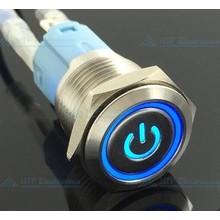 16mm Drukschakelaar Latching met Verlicht logo en ringverlichting Blauw