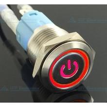 16mm Drukschakelaar Latching met Verlicht logo en ringverlichting Rood