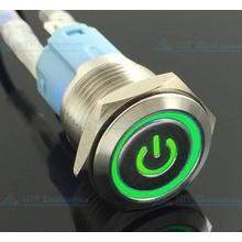 16mm Drukschakelaar Latching met Verlicht logo en ringverlichting Groen
