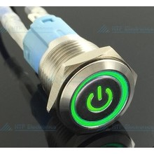 16mm Pressure Switch Latching with Illuminated logo and ring lighting Green