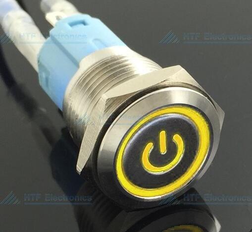 16mm Drukschakelaar Latching met Verlicht logo en ringverlichting Geel