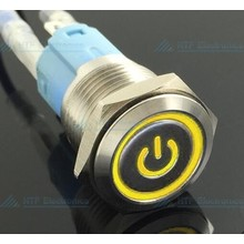 16mm Pressure Switch Latching with Illuminated logo and ring lighting Yellow