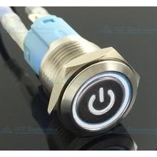 16mm Drukschakelaar Latching met Verlicht logo en ringverlichting Wit
