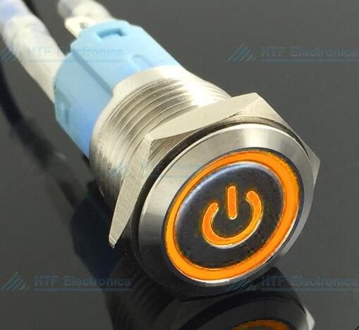 16mm Drukschakelaar Latching met Verlicht logo en ringverlichting Oranje