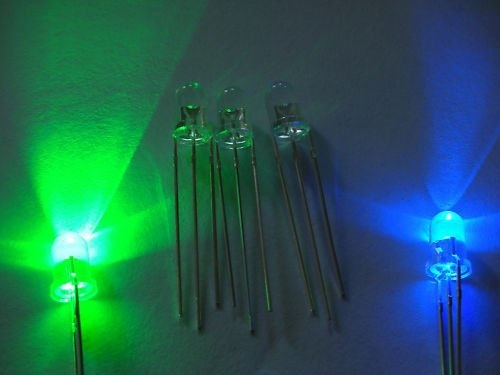 3mm Round Led Clear Bi-Color Blue / Green Common Anode