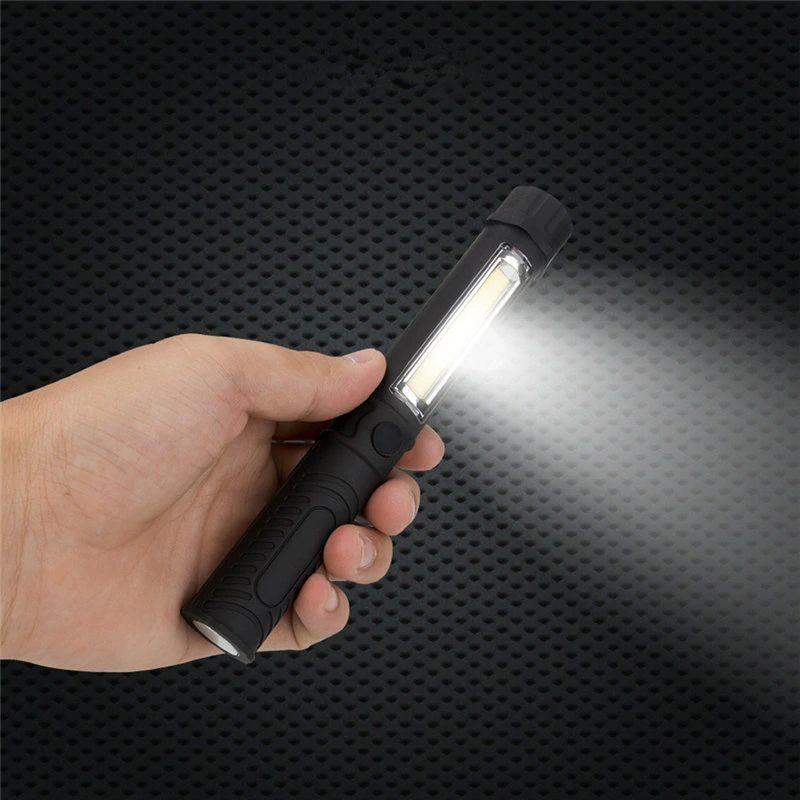 Zaklantaarn met een COB led, magneet en een pen clip