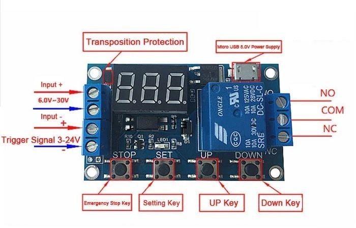 Channel Delay Power-off Relay Module with Cycle Timing Circuit Switch