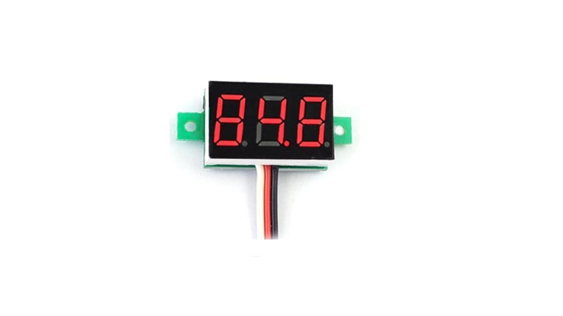 Mini Voltmeter red 3 wires 0-100V 0.36 inch