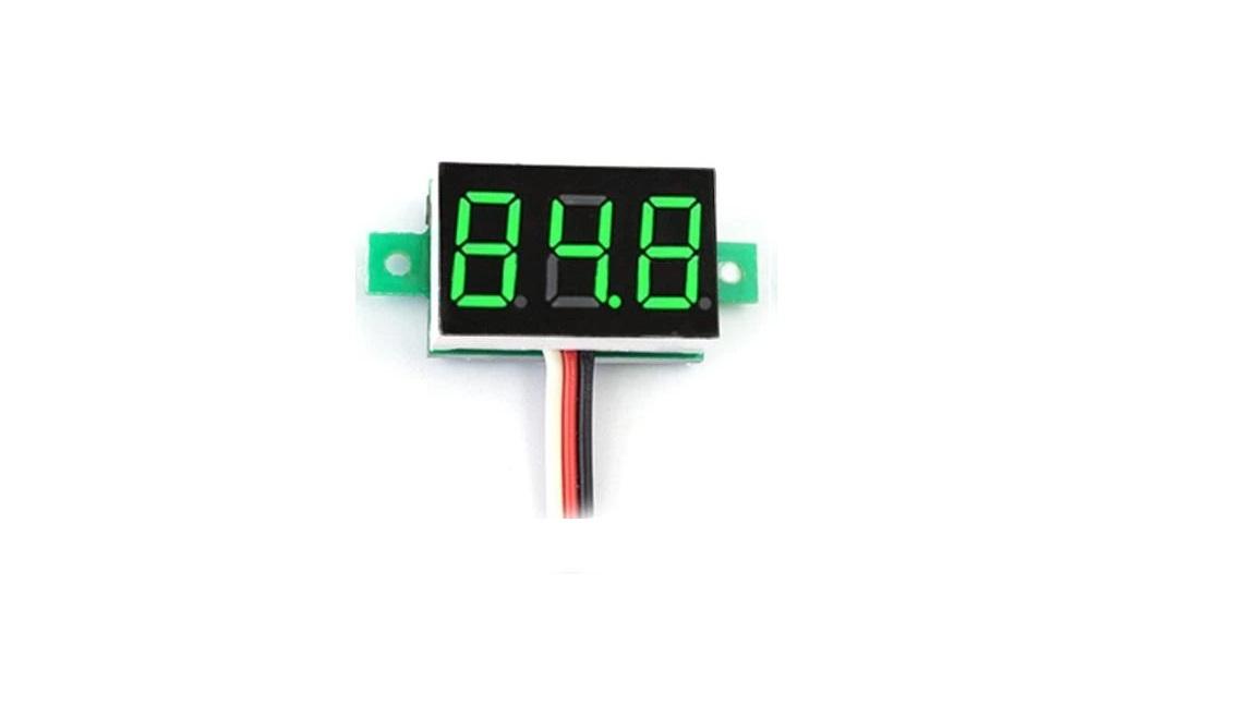 Mini Voltmeter Green 3 wires 0-100V 0.36 inch