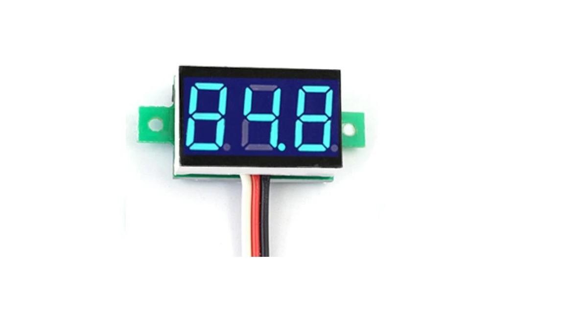 Mini Voltmeter Blauw 3draden 0-100V 0,36 inch