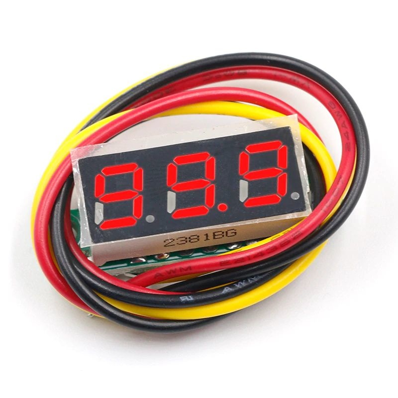Mini Voltmeter red 3 wires 0-100V 0.28 inch