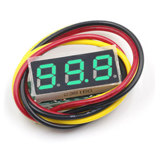 Mini Voltmeter Green 3 wires 0-100V 0.28 inch