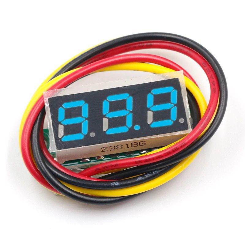 Mini Voltmeter Blue 3 wires 0-100V 0.28 inch