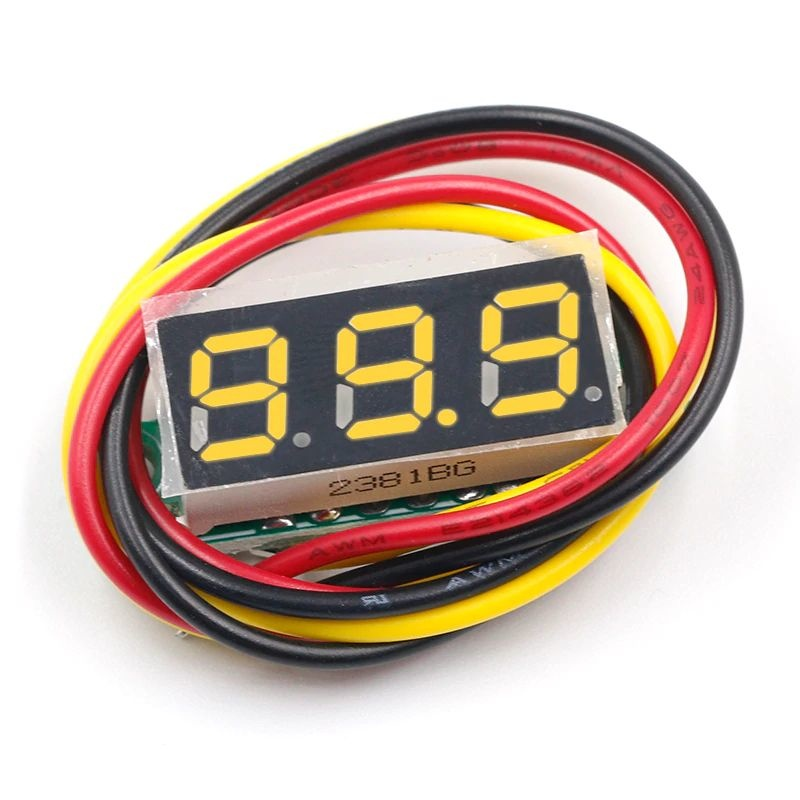 Mini Voltmeter Yellow 3 wires 0-100V 0.28 inch